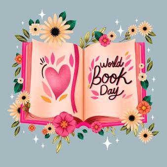 Ilustracja akwarela światowy dzień książki