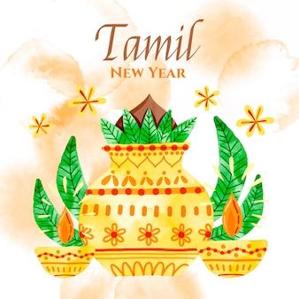 Ilustracja akwarela tamilski nowy rok