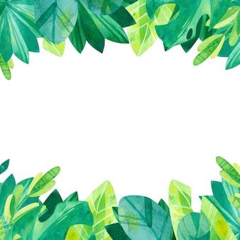 Ilustracja akwarela tropikalnej zieleni