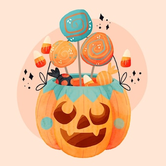 Ilustracja akwarela worek halloween