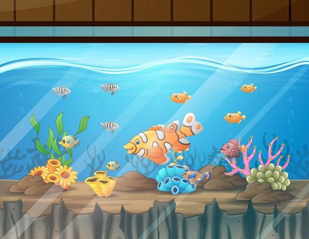 Ilustracja akwarium z rybami glonami i koralowcami