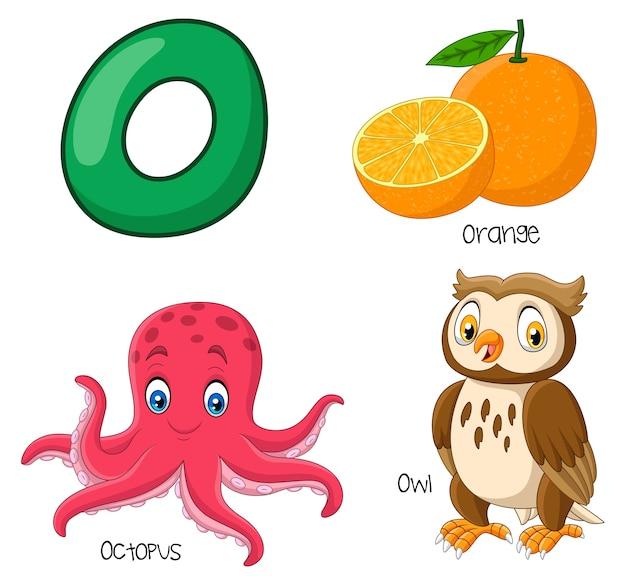 Ilustracja alfabetu o.