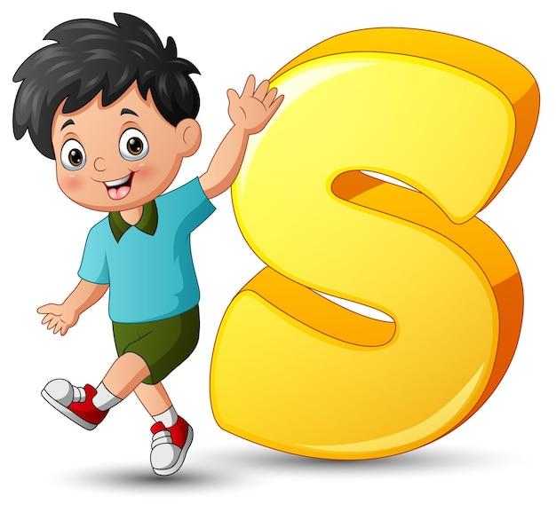 Ilustracja alfabetu s ze szkolnym chłopcem pozowanie