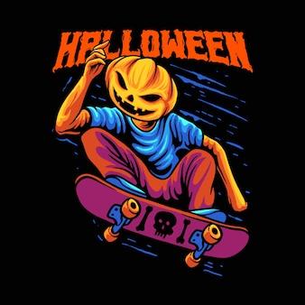 Ilustracja alfons na deskorolce halloween