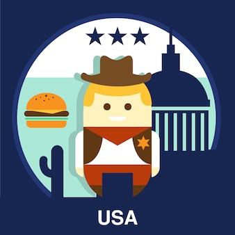 Ilustracja amerykański kowboj