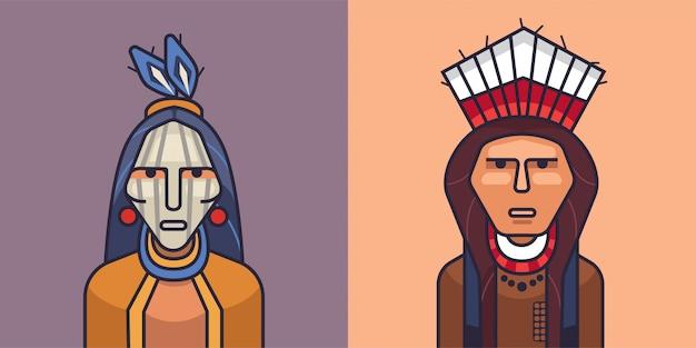 Ilustracja amerykańskich indian czerwonych. kreskówka indyjski mężczyzna