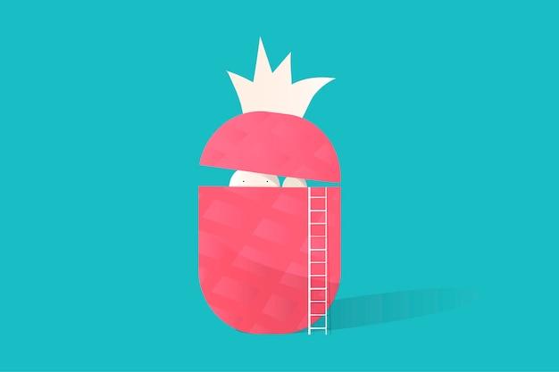 Ilustracja ananasowa ikona na błękitnym tle