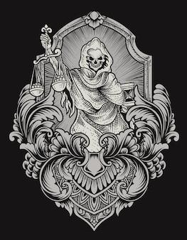 Ilustracja anioł śmierci sprawiedliwości z rocznika grawerowanie ornament