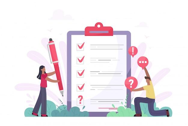 Ilustracja ankiety. płaska koncepcja mini osób z testem jakości i raportem zadowolenia. informacje zwrotne od klientów lub formularz opinii. klient odpowiada na zrozumienie z profesjonalnym zespołem badawczym
