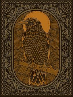 Ilustracja antyczny ptak wrona na grawerowaniu ornament