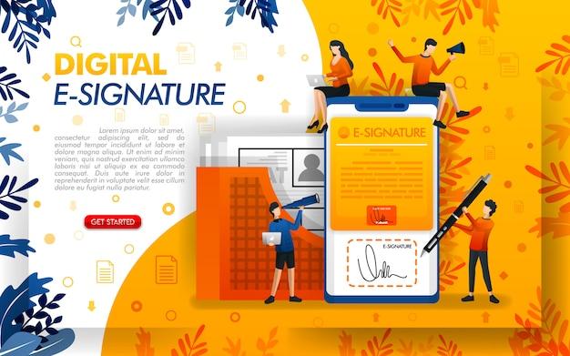 Ilustracja aplikacji do podpisu cyfrowego lub e-digital z telefonem komórkowym