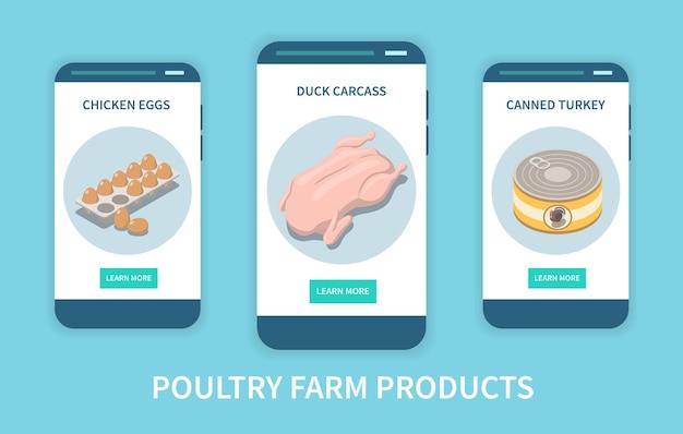 Ilustracja aplikacji mobilnej produktów fermy drobiu