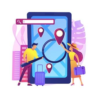 Ilustracja aplikacji mobilnej przewodnika turystycznego