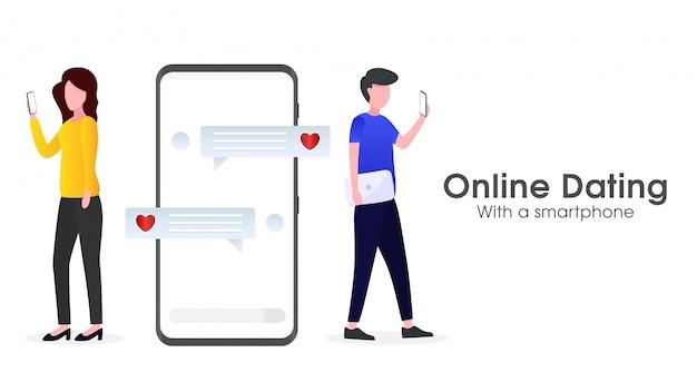 Ilustracja aplikacji randkowej online z partnerem