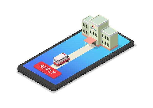Ilustracja aplikacji zdrowotnej z izometrycznym szpitalem i karetką pogotowia na smartfonie