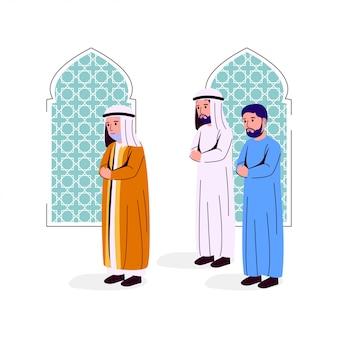 Ilustracja arabski mężczyzna modli się razem