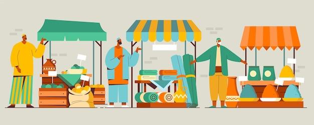 Ilustracja arabskiego bazaru