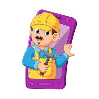 Ilustracja architekta używającego żółtego hełmu wyszła z fioletowego mobilnego smartfona