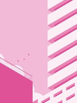 Ilustracja architektury budynku w minimalistycznym stylu.
