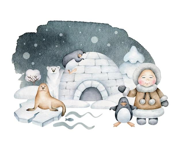Ilustracja arktyczna zima