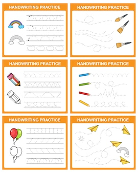 Ilustracja arkusza ćwiczeń pisma ręcznego
