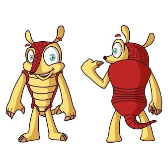 Ilustracja armadillo kreskówki set.
