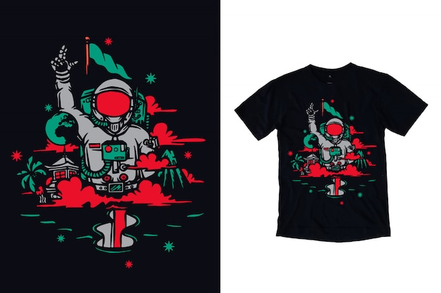 Ilustracja astronauta dla t shirt projektu