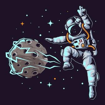 Ilustracja astronauta w piłce nożnej