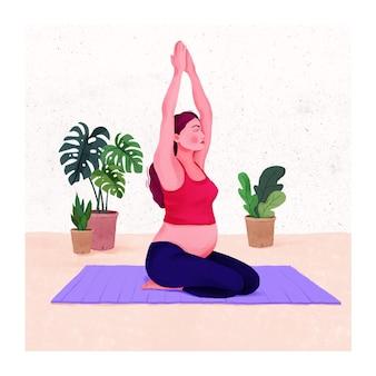 Ilustracja atrakcyjna kobieta w ciąży ćwicząca ćwiczenia rozciągające kobiety w ciąży