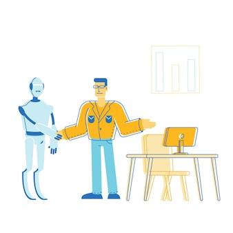 Ilustracja automatyzacji w płaskiej konstrukcji