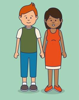 Ilustracja avatary wielokulturowi ludzie