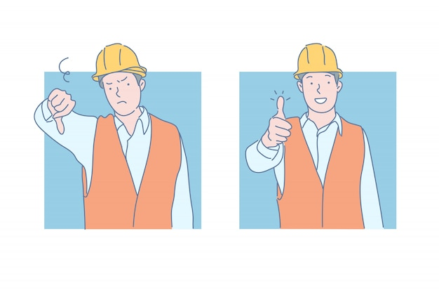 Ilustracja awarii i sukcesu w pracy