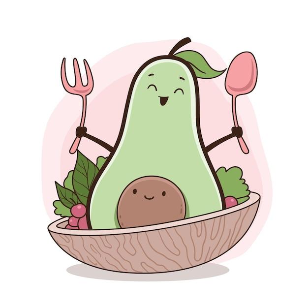 Ilustracja awokado w misce