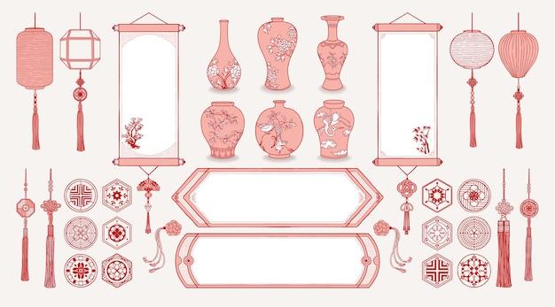 Ilustracja azjatyckich wiszących zwojów, lampionów, wazonów ceramicznych, tradycyjnych wzorów i dekoracji.