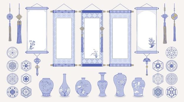 Ilustracja azjatyckich wiszących zwojów, wazonów ceramicznych, tradycyjnych wzorów i orientalnych dekoracji.