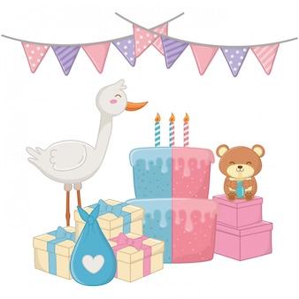 Ilustracja baby shower party