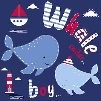 Ilustracja babyshower chłopiec wieloryb