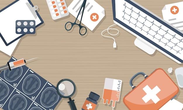 Ilustracja badań medycznych, widok z góry