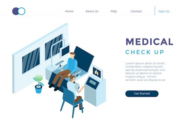 Ilustracja badania kontrolne lekarka przy szpitalem w isometric 3d stylu
