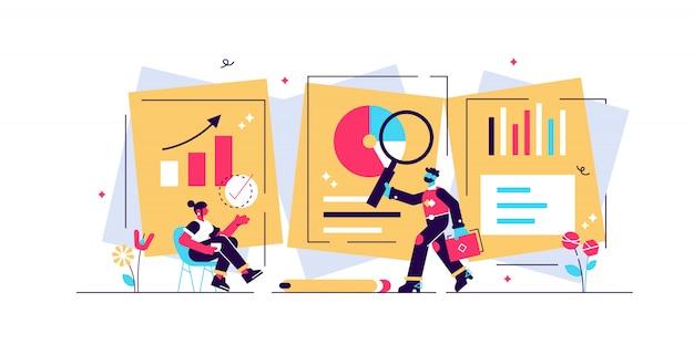 Ilustracja badawcza. koncepcja płaski osób mini ze schematem analizuje proces. współpracownicy badają dane graficzne i edukacyjne informacji biznesowych, aby stworzyć nowy projekt rozwiązania lub raport wiedzy