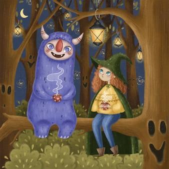 Ilustracja bajki. mała czarownica z fantastycznym potworem pije herbatę nocą w lesie.