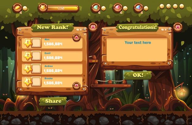 Ilustracja bajkowego lasu nocą z latarkami i przykładami ekranów, przycisków, pasków progresji do gier komputerowych i projektowania stron internetowych. zestaw 2.