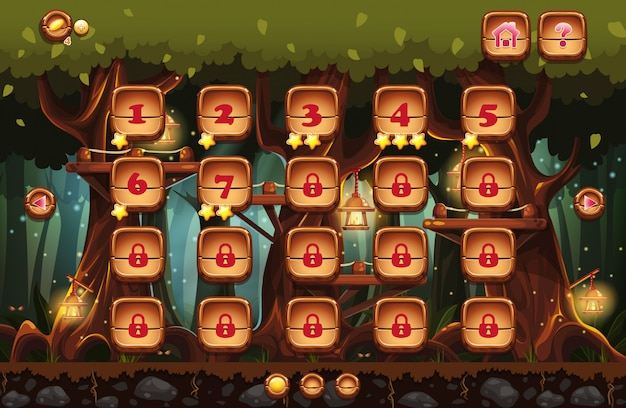 Ilustracja bajkowego lasu nocą z latarkami i przykładami ekranów, przycisków, pasków progresji do gier komputerowych i projektowania stron internetowych. zestaw 4.