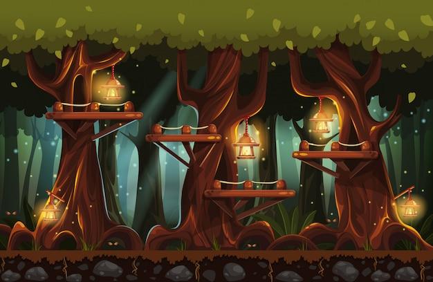 Ilustracja bajkowego lasu w nocy z latarkami, świetlikami i drewnianymi mostami
