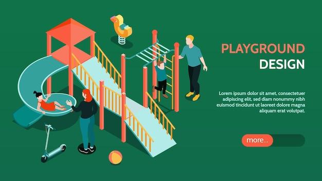 Ilustracja baner izometryczny plac zabaw dla dzieci
