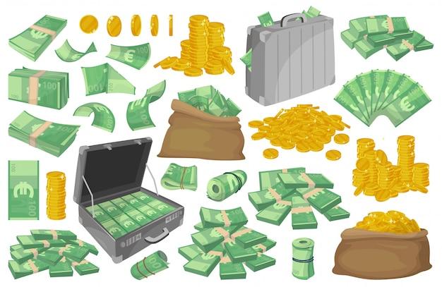 Ilustracja banknotów euro. kreskówka zestaw ikona pieniędzy.