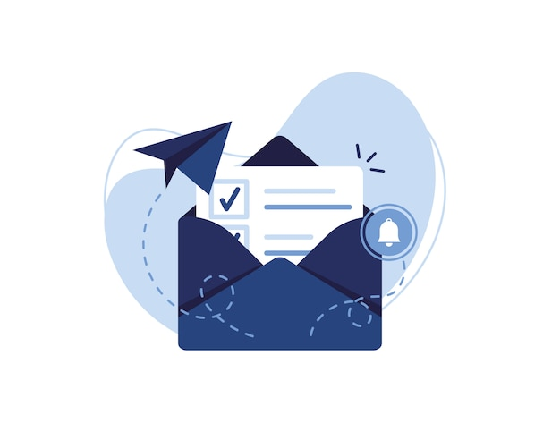 Ilustracja banner e-mail marketingu i koncepcji wiadomości. list, arkusz w kopercie, znacznik wyboru. wysyłanie aplikacji. otrzymuj wiadomości. wypełniony dokument. alarm i dzwonek. niebieski i biały.