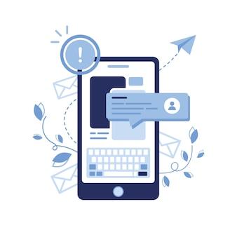 Ilustracja banner e-mail marketingu i koncepcji wiadomości. list, koperta. biuletyn telefoniczny. chat bot, dialog, sms, komunikacja, użytkownik. wyskakujące okno. ucz się online. artykuł. niebieski.