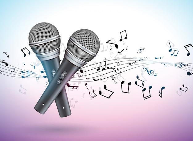 Ilustracja banner na temat muzyczny z mikrofonami i spadającymi notatkami