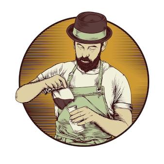 Ilustracja barista kawy